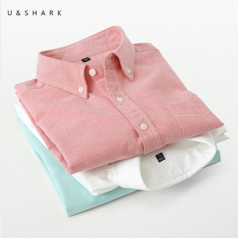 U&SHARK 2020 Spring Oxford Cotton Shirt Mens Dress Shirts Brand Clothing Long Sleeve Casual Shirts Slim Fit Social Shirt Male
