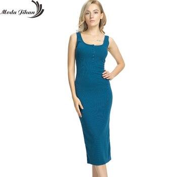 175a10660a Moda Jihan mujeres vestidos largos Maxi Algodón elástico sin mangas Wrap  Hip vestidos cómodo delgado vestido básico estilo Femme vestido