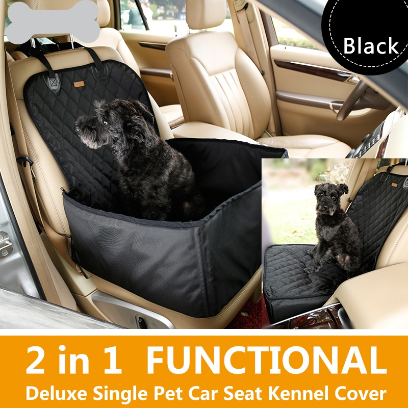 LEMONDA 2-In-1 Deluxe Waterproof Pet Dog Seat Cover House Car Front Seat Crate Cover - 45cm x 45cm x 58cm