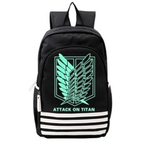 Attack on Titan Cosplay Schoolbags Noctilucous Luminous Backpack Notebook Daily Backpack Glow in the Dark Cosplay