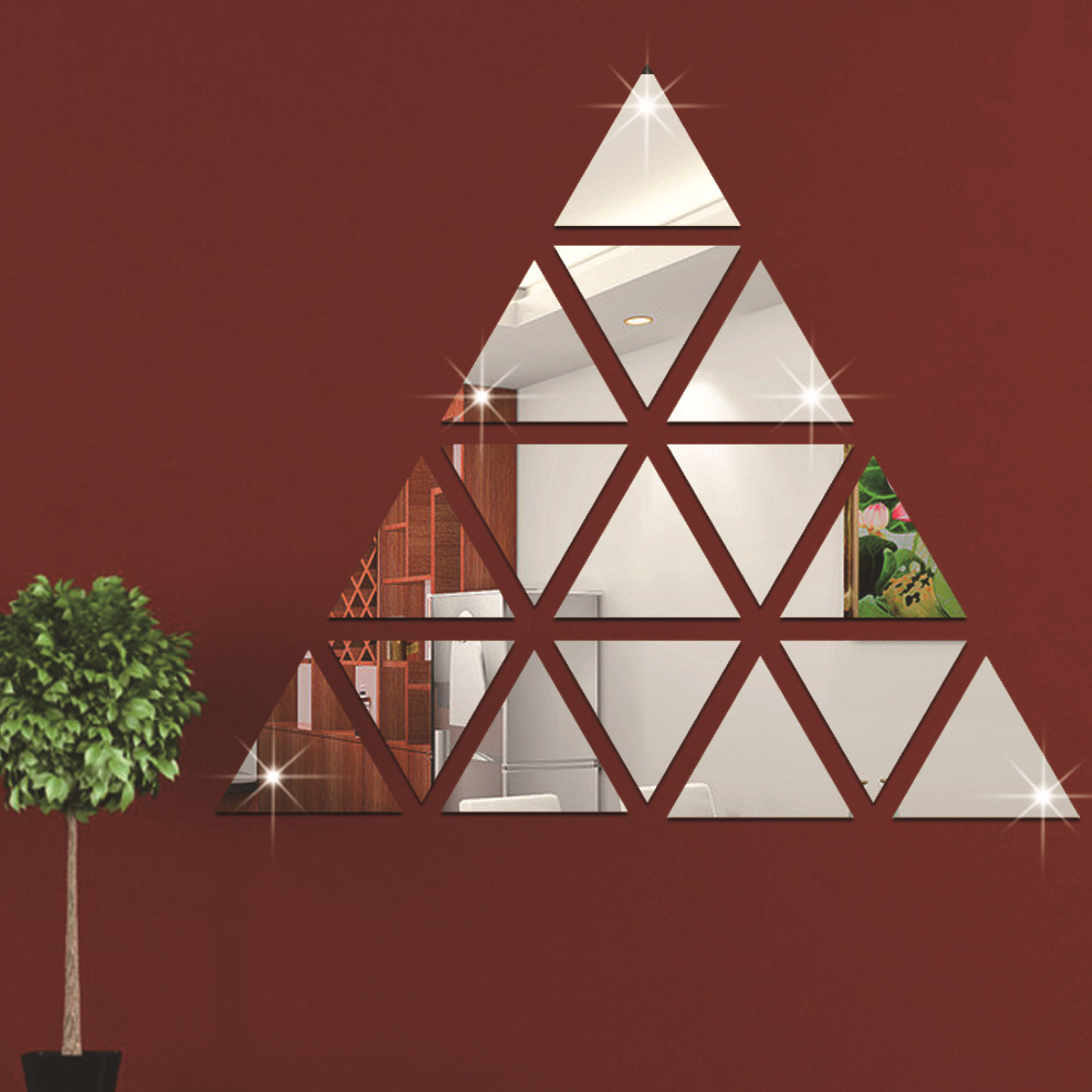 100pcs 2cm Triangular Mirror Surface Wall Sticker 3D Acrylic Wall Decals For Background Decor Of Home Office Shop And Studio