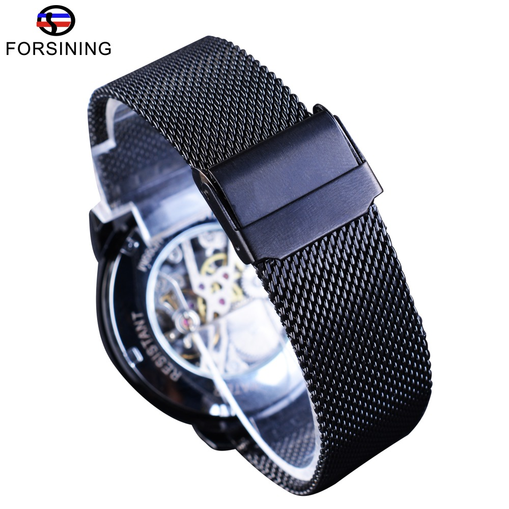 82f526e7daa9 Forsining acero negro transparente caso Romano 3D Logo grabado hombres  mecánicos relojes Top marca de lujo esqueleto reloj en Relojes automáticos  de Relojes ...