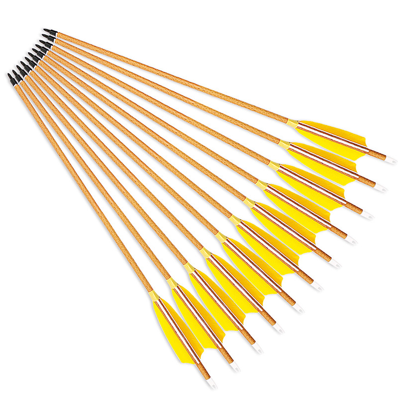 Wood Grained Archery Carbon Arrows Spine 400/500/600 Shaft 4 Inch Feather For Hunting Bow 29/30/31 Inch Arrow 6PK 12 archery carbon arrow spine300 340 400 500 600 fluorescent yellow shaft compound bow shoot id6 2mm protect ring nock