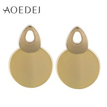 Gold Metal Round Disc Earrings Simple Design Coin Dangle Geometric Drop Modern Art Jewelry