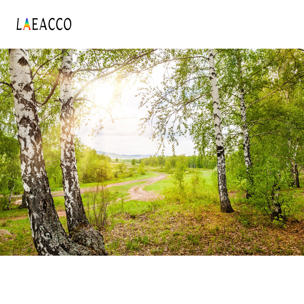 Laeacco Tree Grass Pathway Portrait Children Scenic Photography Backgrounds Customized Photographic Backdrops For Photo Studio