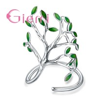 Top Quality Vintage 925 Sterling Silver Ring Women Men Enameled Green Leaves Tree of Life Trendy Party Wedding Jewelry(China)