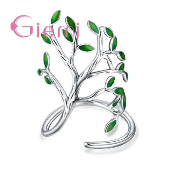 Top Quality Vintage 925 Sterling Silver Ring Women Men Enameled Green Leaves Tree of Life Trendy Party Wedding Jewelry