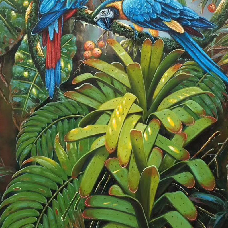 100 Hand Painted Colored Parrot High quality Art Oil Painting On Canvas Wall Art Wall Adornment Picture Painting For Home Decor in Painting Calligraphy from Home Garden