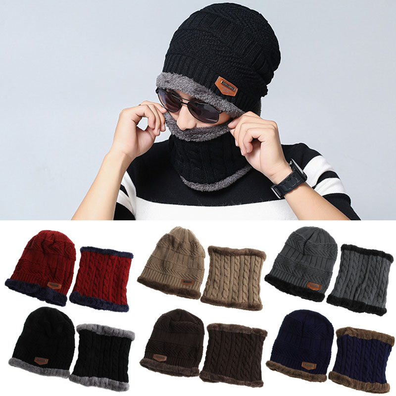 Men Women Camping Hat Beanie Baggy Warm Winter Wool Fleece Ski Cap with  Neckerchief-in Scarf a6e5bfece84
