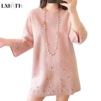 LXMSTH Korea Fashion Knitted Cashmere Dress O Neck Loose Plus Size Dresses Elegant Autumn Winter Rivet Women Pearl Dresses Wrist
