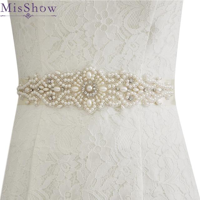2 New Arrival Elegant Pearl Style Bridal Ribbon Sash Wedding Party Bride Bridesmaid Belt Dress Sash For Evening Prom Dresses