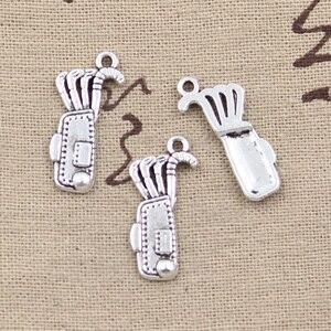 20 шт., амулеты, сумка для гольфа, клубов 25x11 мм, античная бронза, серебряный цвет, подвески, сделай сам, ручная работа, тибетская бронза, серебр...