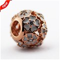 Beads Fits Pandora Bracelets DIY Beads For Jewelry Making Primrose Silver Charms With CZ & Enamel Rose Gold Plated Charms Bead