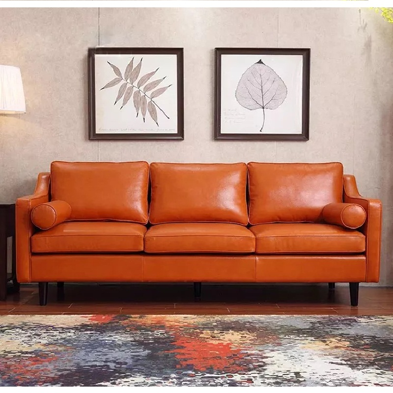 US $239.0 |U BEST American Retro Leather Sofa Large sized apartment Solo  living room sofa,industry PU Oil Wax Leather combination sofa-in Living  Room ...