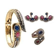 Romantic Vintage Turkish Rhinestone Jewelry Sets Antique Gold Plating Bangle Earrings Ring Ladies Festival Favorite Bijoux Gift