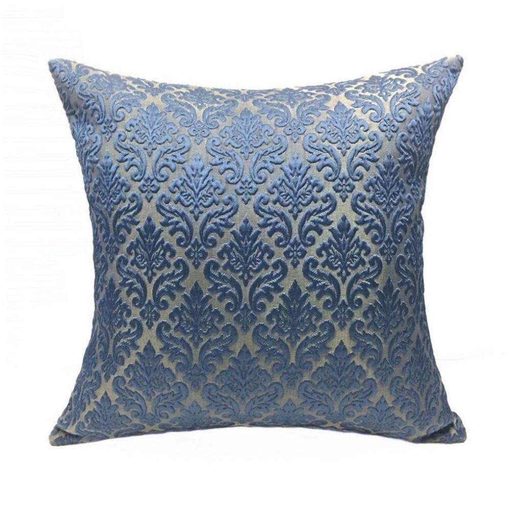 Luxurious Vintage Dark Blue Small Damask Paisley Diamond Decorative Jacquard Woven Cushion Cover Sofa Pillow Case 17 x 17 inch
