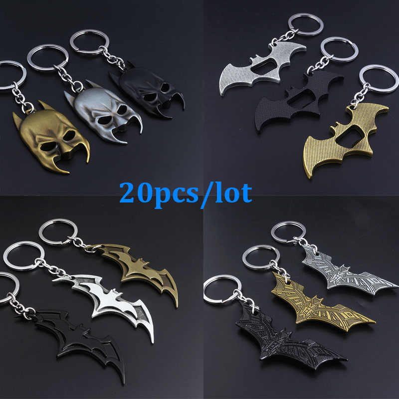 SG 20Pcs/Lot Movie Avengers Batman Keychains The Dark Knight Bat Man Mask Pendants Keyring Car Bag Llaveros Men Jewelry Gift