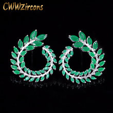 CWWZircons Trendy Symmetrical Women Ear Jewelry White Gold Color Big Marquise Green Crystal Big Leaves Earring CZ174(China)