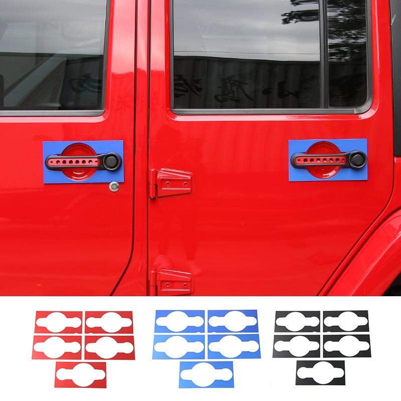 MOPAI Car Exterior Door Handle Guard Trim Cover Decoration Aluminum Stickers For Jeep Wrangler 07 Up Car Styling 2 & 4 Doors