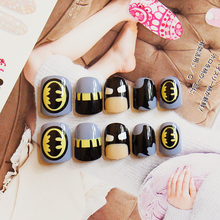 New 24pieces Batman Cute 3D Fashion Desgin Style DIY Plastic Art Short Fake false Sticker Nail Tips With Glue Gel [N3062]