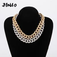 JINAO 14&20mm Box Clasp Micro Pave Iced CZ Cuban Link Necklaces Chains Gold Color Luxury Bling Jewelry Fashion Hiphop For Men