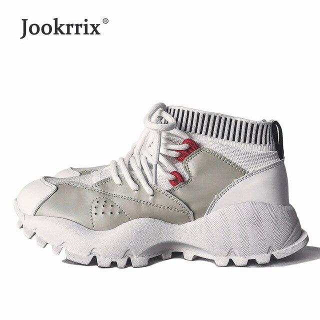 Jookrrix 2018 новые белые туфли Для женщин брендовые кроссовки на платформе Модные женские chaussure универсальные Женская Осенняя обувь дышащая