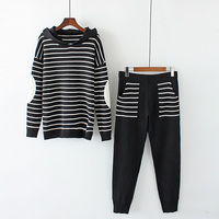 Women Knitted Set Two Piece Suits Women Knitted Set Cashmere Sweater And Knitted Pants Patchwork Top & Trousers Stripe Plus Size