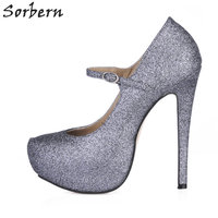 Sorbern Grey Glitter Evening Party Shoes Women Mary Janes Women Dressing Shoes Platform 14Cm Ladies Heels
