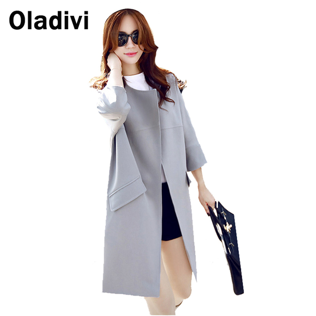 Oladivi Women Long Trench Coat 2016 New Winter Spring Autumn Fashion Brand Plus Size 5XL Windbreaker Overcoat Casacos Femininos
