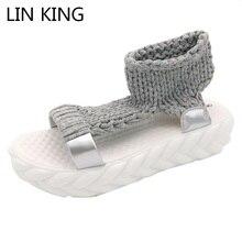 LIN KING Women Sandals Solid Gladiator Slides Wool Knitting