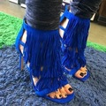 Europe United Style New Summer Fringe Women High Heel Gladiator Sandals Fashion Tassel Women Dress Shoes