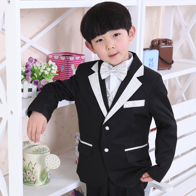 wedding communion toddler suits for boys black with silver formal ...