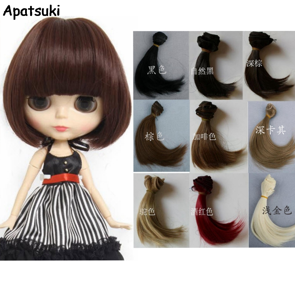 10*100cm Doll Wigs For Barbie Doll DIY Doll Nature Curly Hair Wavy Wigs Natural Brown Kh ...