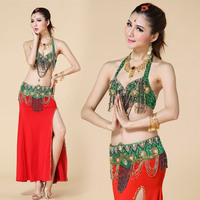 2017 Hot selling sexy green belly dance costume set for women cheap belly dancing clothes on sale 2pcs set(bra+belt)
