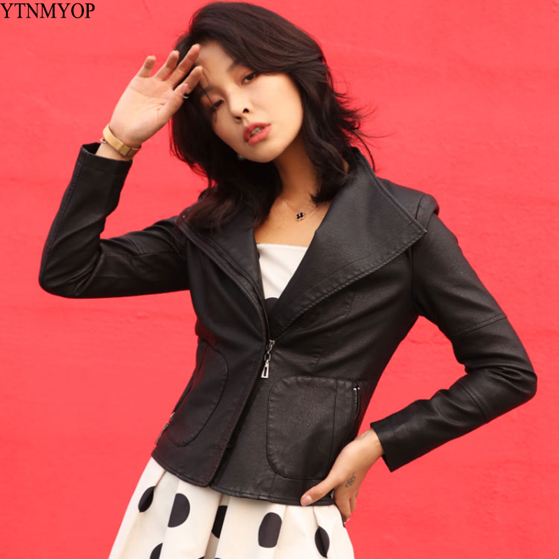YTNMYOP Women   Leather   Jackets Pockets Motorcycle Short   Leather   Coat Female Black Zipper Faux   Leather   Outerwear
