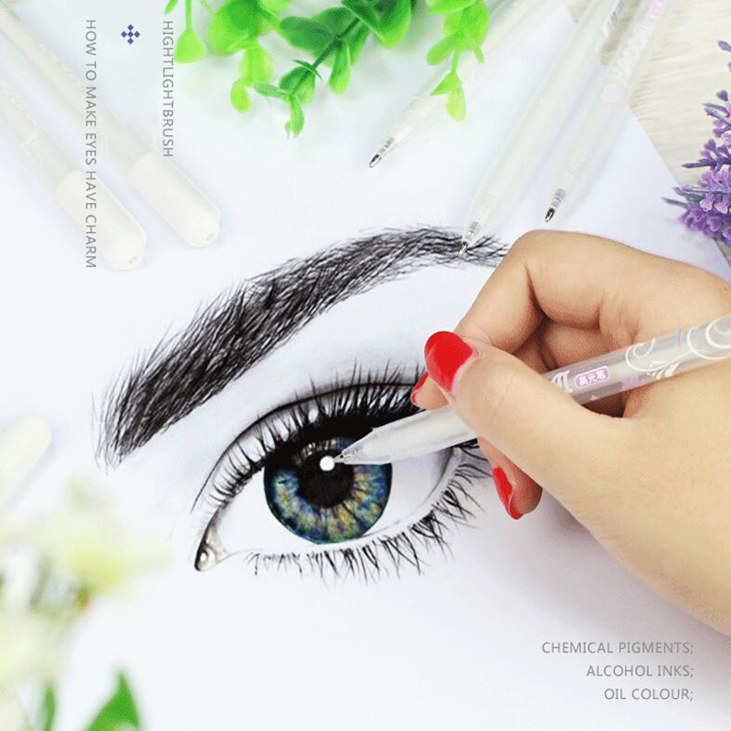 1pc 0.8mm Hand-Painted White Highlighter Art Painting Sketch Stationery White Paint Mark White Ink Pen For Art Mark Comic Paint