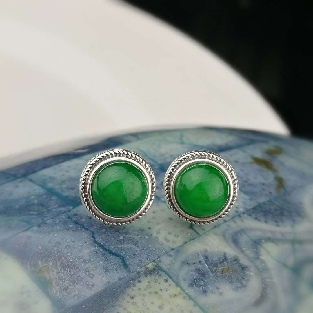 купить New products S925 Thai silver earrings simple retro twist jade jade earrings temperament fashion dragon dragon ears fashion недорого