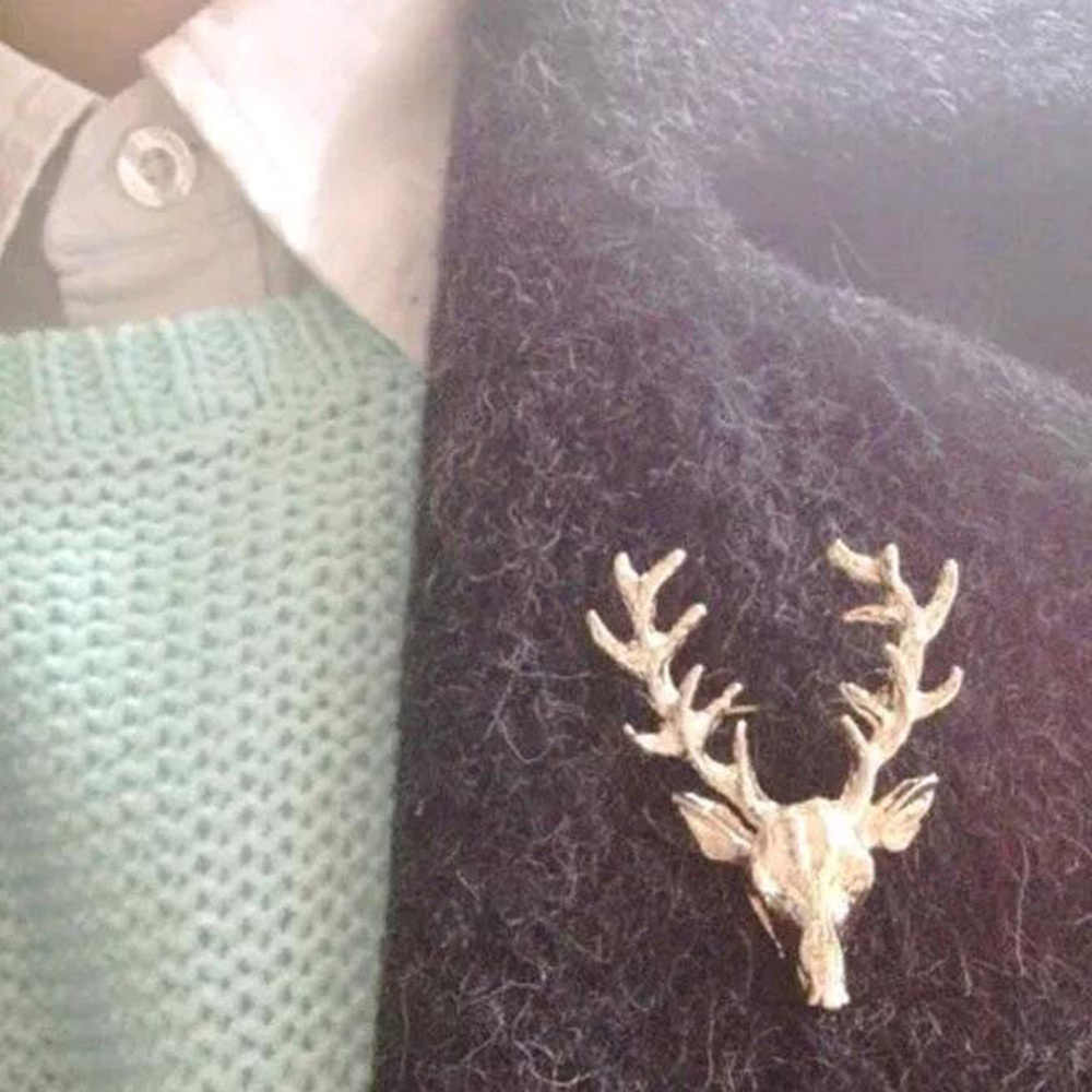 Hot Fashion Paduan Bros Unisex Natal Hewan Bros Lucu Emas Tanduk Rusa Kepala Pin Bros Syal Mantel Kerah Pin Perhiasan