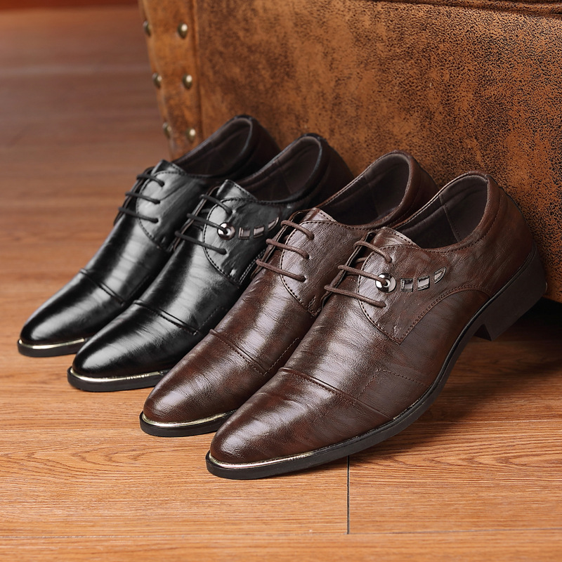NPEZKGC New Fashion Oxford Men Leather Dress Shoes Spring Autumn Men Casual Flat Genuine Leather men