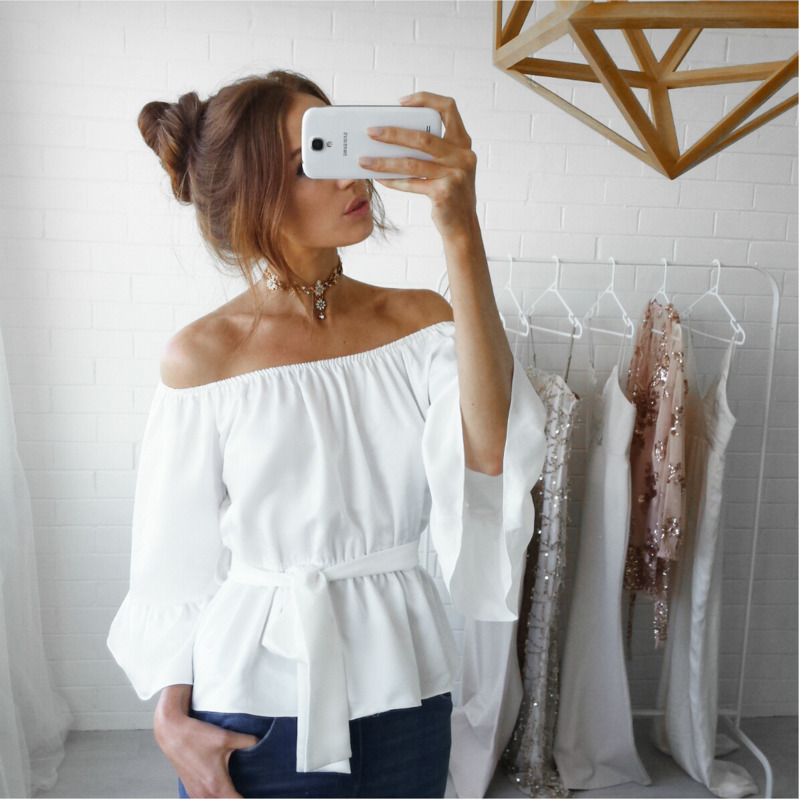 Off Shoulder Women Peplum Blouse Chiffon Three Quarter Flare Sleeve Tunic Tops Ladies Office Shirts Chemisier Femme Ey*(China)