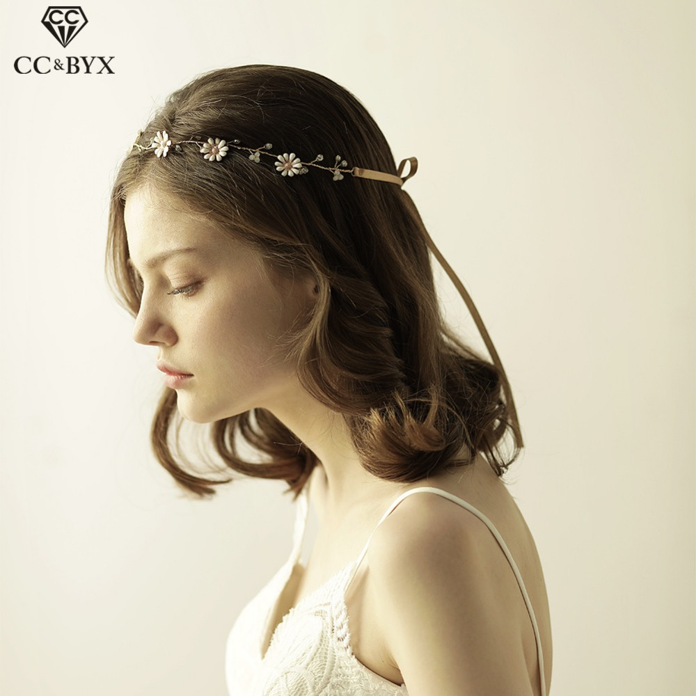 CC Headbands For Girl Hairband Crystal Beads Wedding Hair Accessories Bride Engagement Tiara Handmade Flower Bijoux Jewelry O817