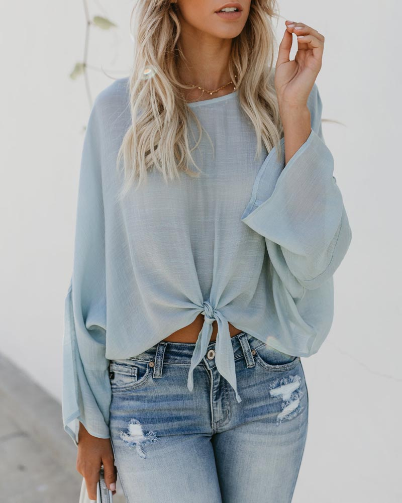Hitmebox 2018 Autumn New Fashion Ladies Crew Neck Long Sleeve Front Tie Knot Casual Leisure Blouse Pulllover Shirts Brief Tops