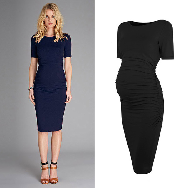 455ae415a86c1 Fashion Tencel/Spandex Maternity Dress Short Sleeve Side Ruched Maternity  Dress 2 Colors