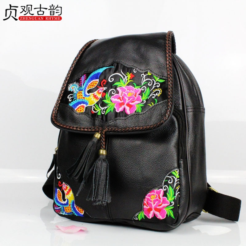 The First Layer Cowhide Embroidery Backpack Women Ethnic Lady National Style Handmade Large Capacity Travel School Girl Bagpack