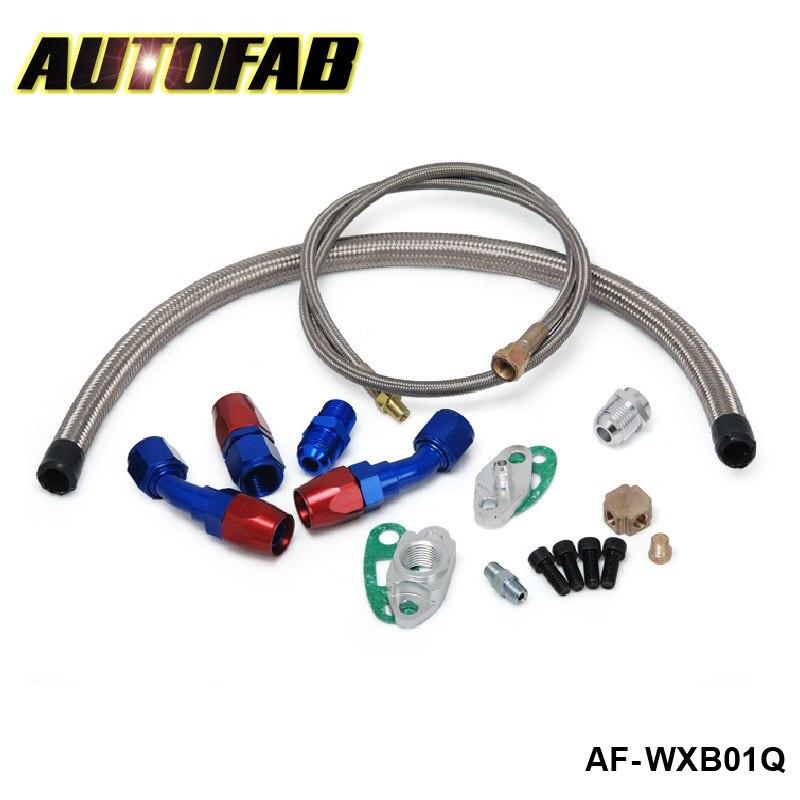 Prix pour AUTOFAB-de Retour D'huile + D'alimentation en Huile de Vidange Ligne Kit T3 T4 T04E T61 Turbo AF-WXB01Q