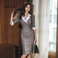 Plus Size Pencil Dress 2019 Women Spring Plaid Half Sleeve Notched Knee length Suit Vintage Blazer Dress Office Elegant Vestidos