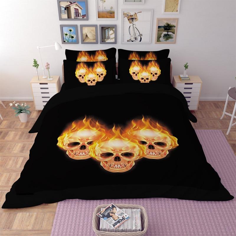 Indian Flaming Skulls fire 3D bedding set Twin full queen king size  comforter duvet covers bedspread Adult bedroom decor yellow. Skull Bedroom Set Promotion Shop for Promotional Skull Bedroom Set