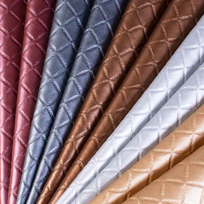 1 Meter Faux Artificial Synthetic Leather Fabric Furniture PU Leather Plaid Car Interior Roof Fabric Car Seat Cushion Fabric