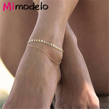 Gold Silver Color Double Ankle Chain Sequins Anklet Fashion Foot Jewelry Bracelet For Women-in Anklets from Jewelry & Accessories on Aliexpress.com   Alibaba Group