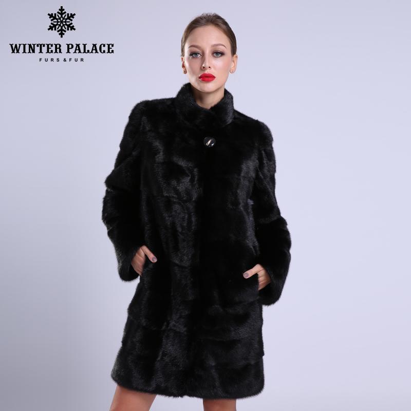 2018 Novo estilo de moda casaco de pele gola de vison natural boa qualidade casacos de vison casaco de pele das mulheres preto natural de pele
